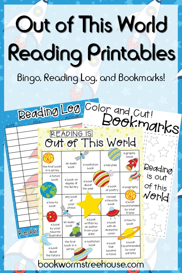 Out of This World Reading Printables! Reading Bingo, Log, and Color Your Own Bookmarks! FREE!